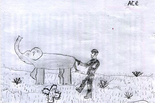 С Киевского зоопарку животная, - неохотно скрипнул зубами пленный. - Маме вёл, в Тверь. У нас-то слонов мало...