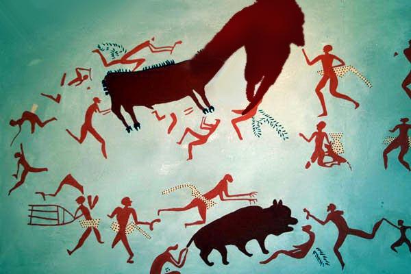 Партизанская живопись. Охота на свинорыла. П, м. 1944 год (?)